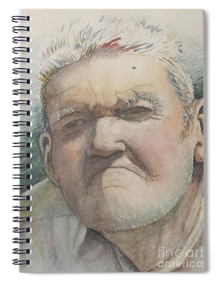Portrait Spiral Notebook featuring the painting Minnesota Farmer by Nadine Rippelmeyer