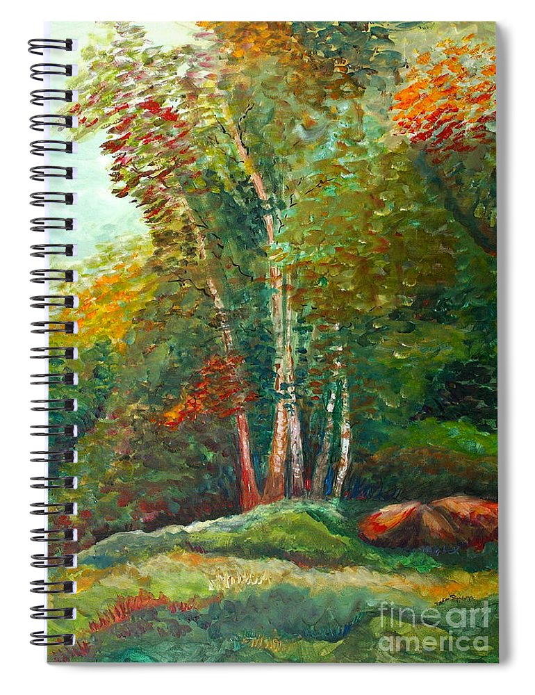 Landscape Spiral Notebook featuring the painting Minnesota Quartet by Nadine Rippelmeyer