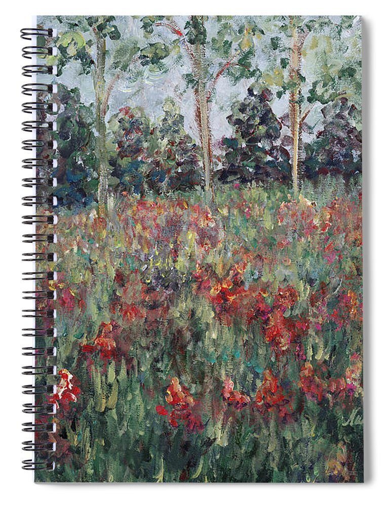 Landscape Spiral Notebook featuring the painting Minnesota Wildflowers by Nadine Rippelmeyer