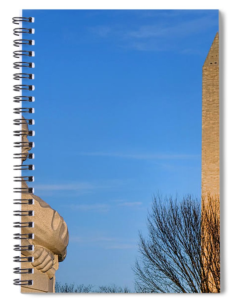 Washington Spiral Notebook featuring the photograph Mlk And Washington Monuments by Olivier Le Queinec