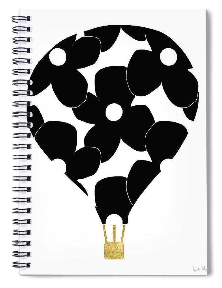 Hot Air Balloon Spiral Notebook featuring the digital art Modern Floral Hot Air Balloon- Art By Linda Woods by Linda Woods