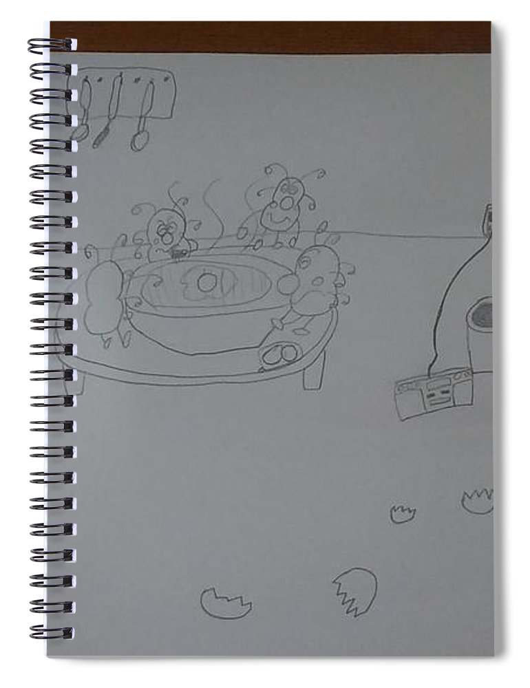 #mold Spiral Notebook featuring the drawing Mold Party by Sari Kurazusi