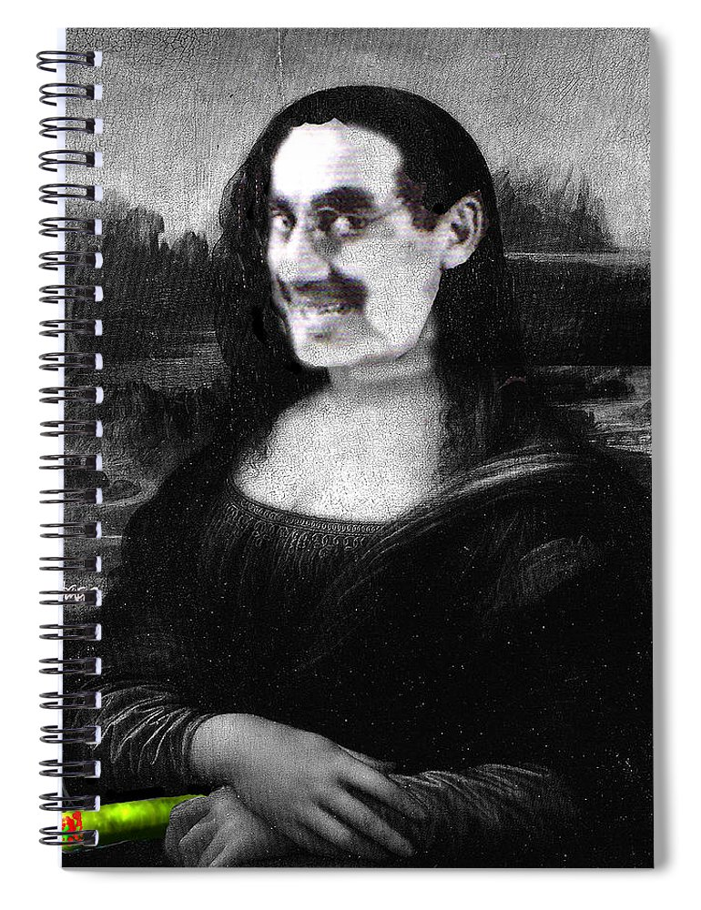 Mona Lisa Spiral Notebook featuring the digital art Mona Grouchironi by Seth Weaver