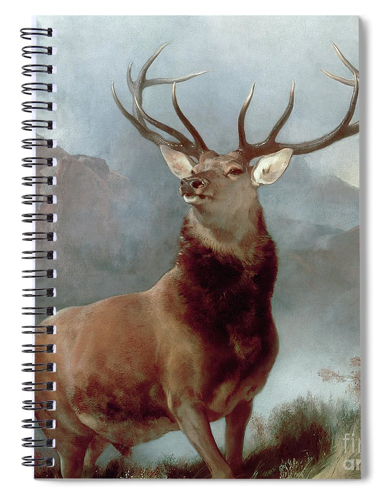 Monarch Spiral Notebook featuring the painting Monarch Of The Glen by Sir Edwin Landseer