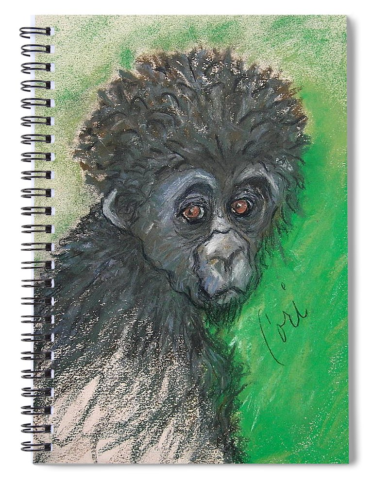 Monkey Spiral Notebook featuring the drawing Monkey Business by Cori Solomon