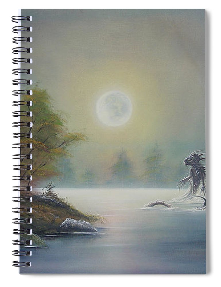 Landscape Spiral Notebook featuring the painting Monstruo Ness by Angel Ortiz