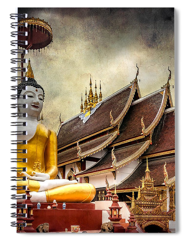 Temple Spiral Notebook featuring the photograph Monthian Temple Buddha by Adrian Evans