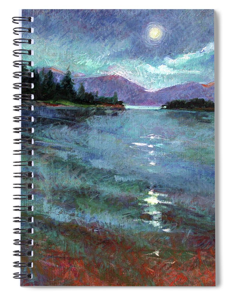 Murals Spiral Notebook featuring the painting Moon Over Pend Orielle by Betty Jean Billups