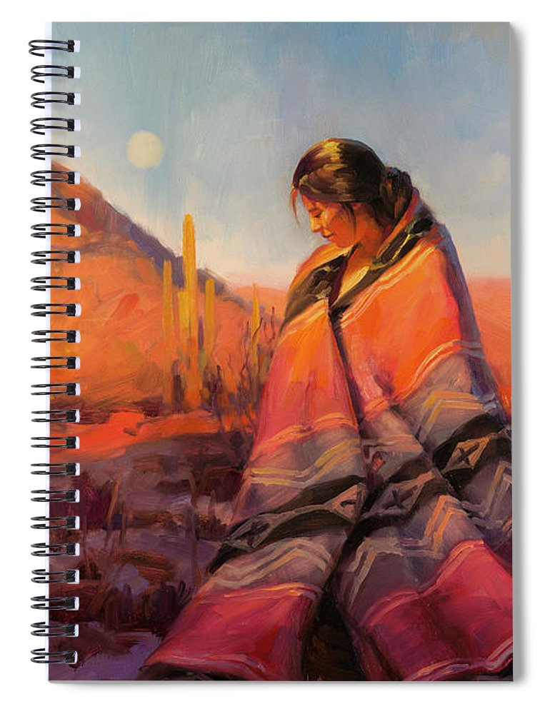 Southwest Spiral Notebook featuring the painting Moon Rising by Steve Henderson