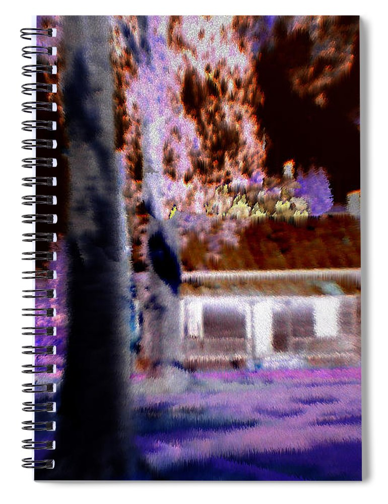 Cabin Spiral Notebook featuring the digital art Moonlight Cabin by Seth Weaver