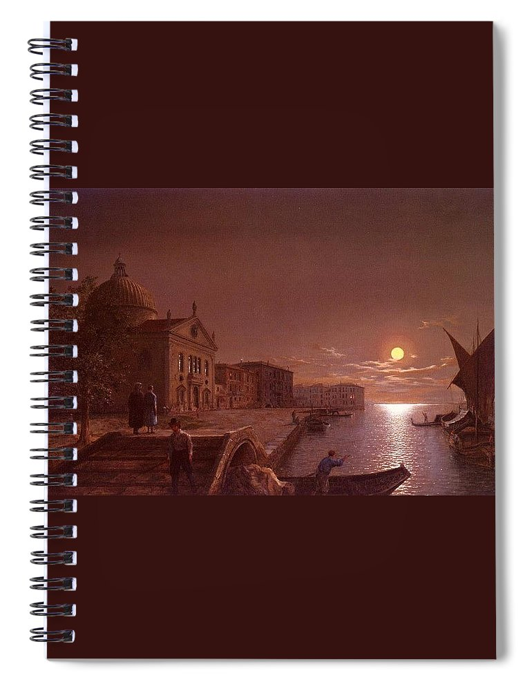 Palace Spiral Notebook featuring the digital art Moonlight In Venice Henry Pether by Eloisa Mannion