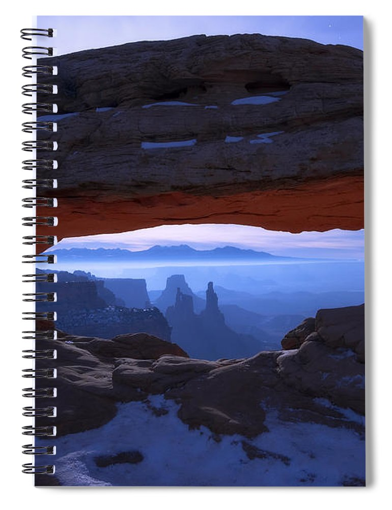 Moonlit Mesa Spiral Notebook featuring the photograph Moonlit Mesa by Chad Dutson