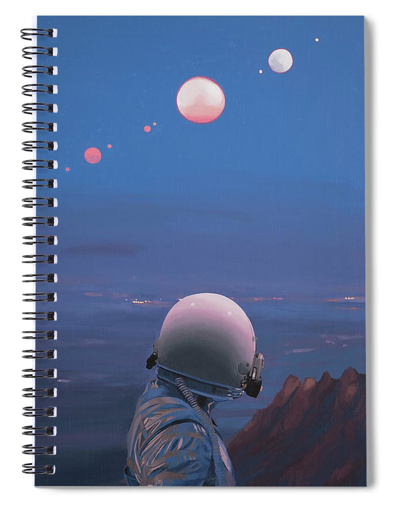Astronaut Spiral Notebook featuring the painting Moons by Scott Listfield