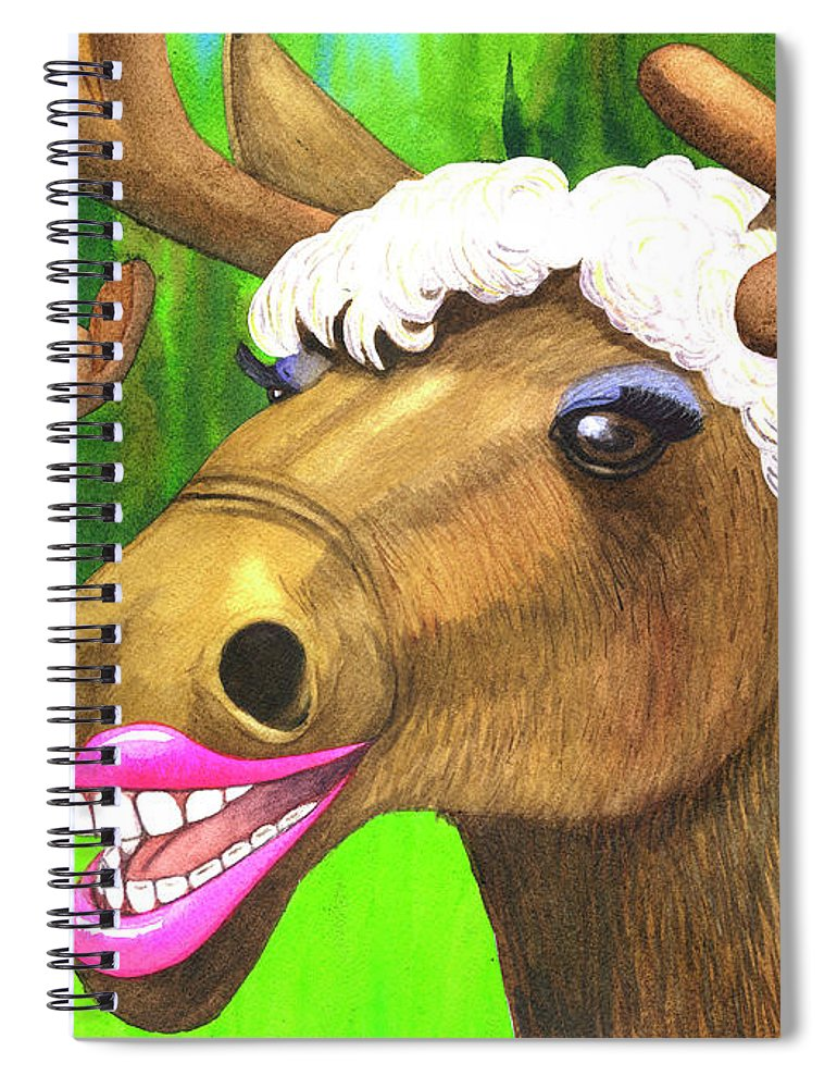 Moose Spiral Notebook featuring the painting Moose Lips by Catherine G McElroy