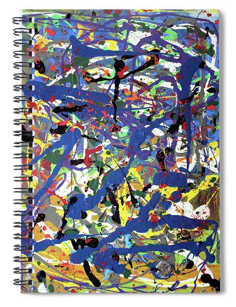 Blue Spiral Notebook featuring the painting More Blueness by Pam Roth O'Mara