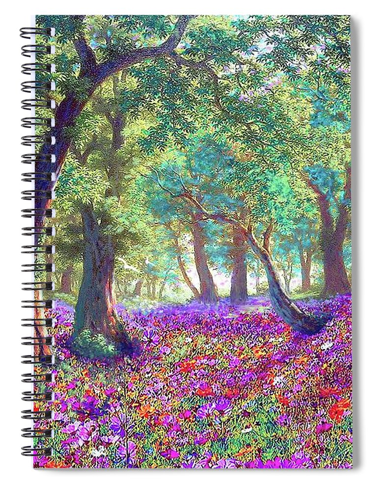 Sun Spiral Notebook featuring the painting Morning Dew by Jane Small
