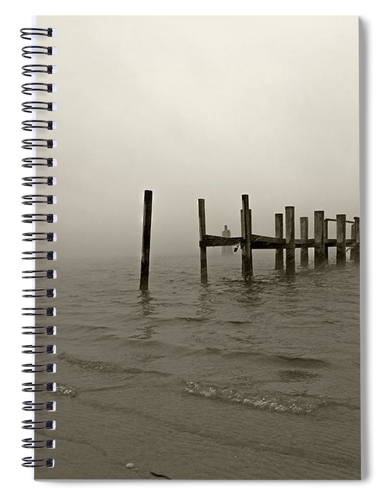 Beach Spiral Notebook featuring the photograph Morning March Snow Sepia by Betsy Knapp