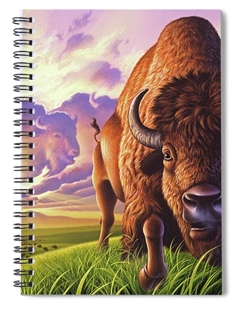 Buffalo Spiral Notebook featuring the painting Morning Thunder by Jerry LoFaro