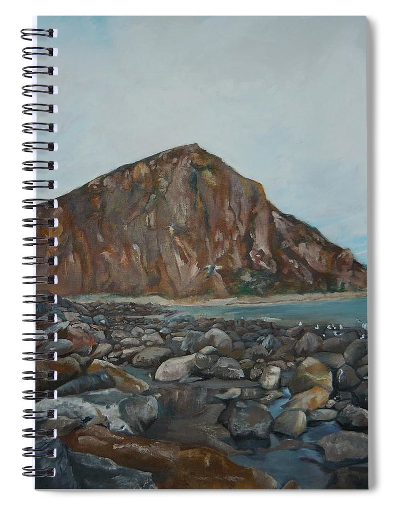 Morro Bay Spiral Notebook featuring the painting Morro Rock by Travis Day