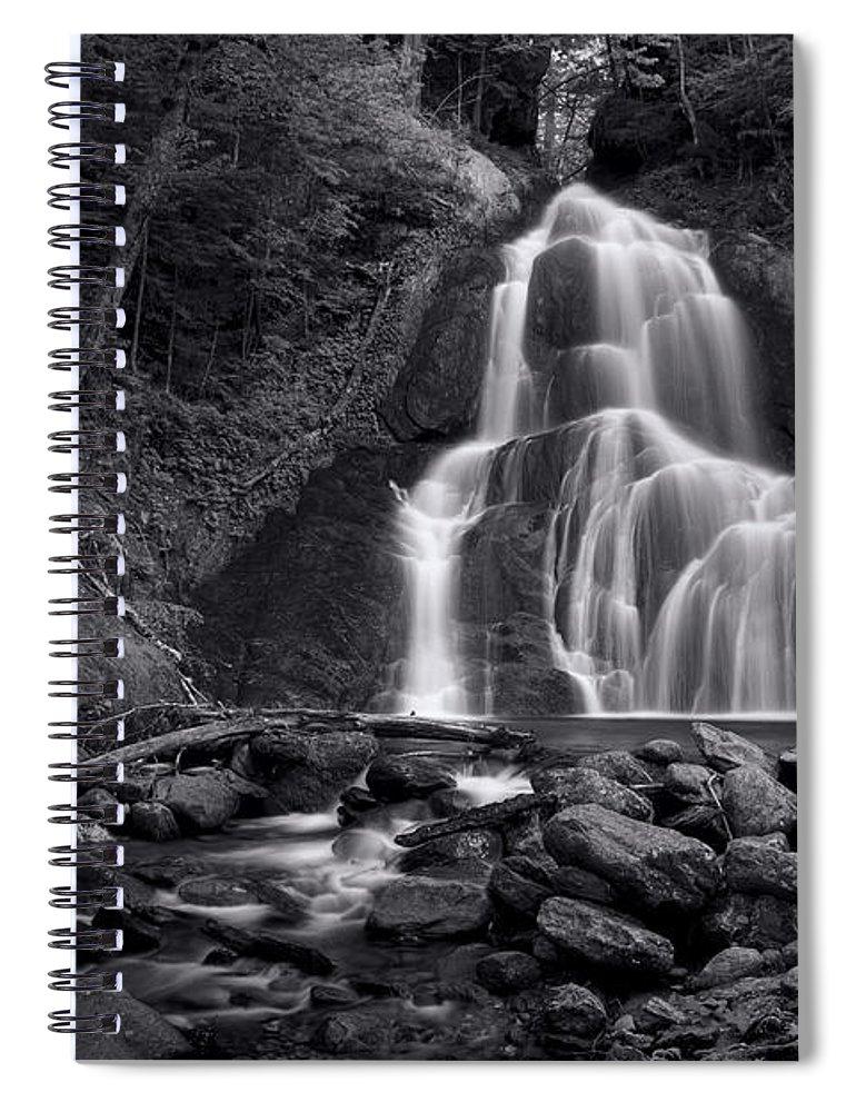 Vermont Spiral Notebook featuring the photograph Moss Glen Falls - Monochrome by Stephen Stookey
