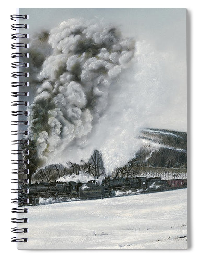 Trains Spiral Notebook featuring the painting Mount Carmel Eruption by David Mittner