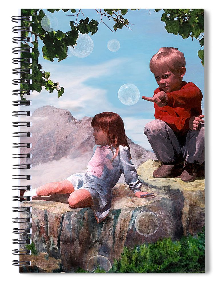 Landscape Spiral Notebook featuring the painting Mount Innocence by Steve Karol