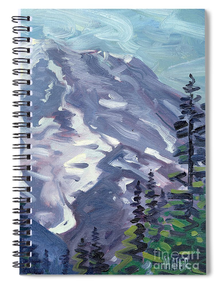Mt. Rainier Spiral Notebook featuring the painting Mount Rainier From Sunrise Point by Donald Maier