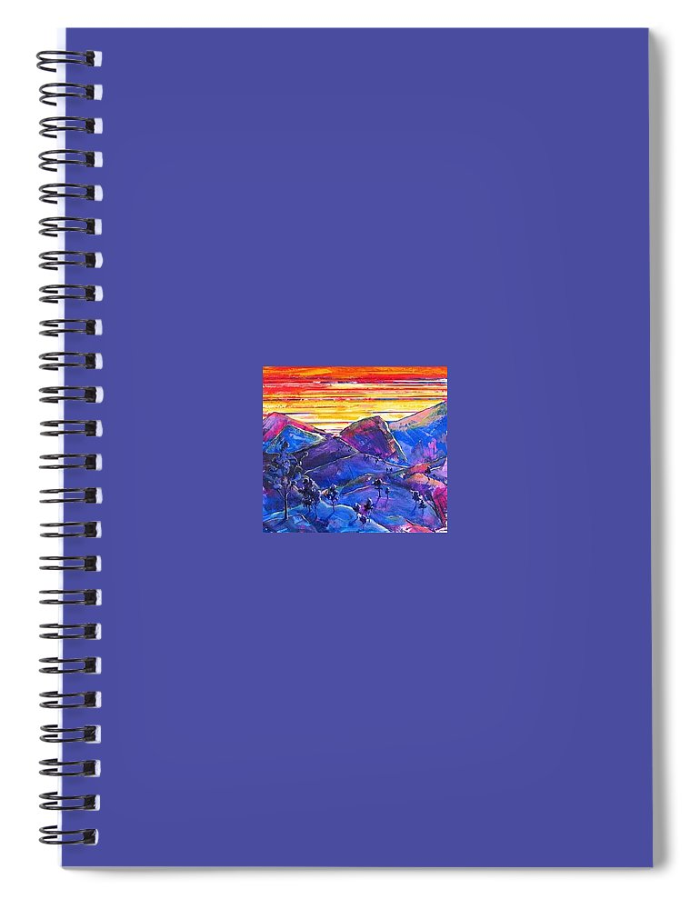 Mountains Spiral Notebook featuring the painting Mountainscape Blue by Rollin Kocsis
