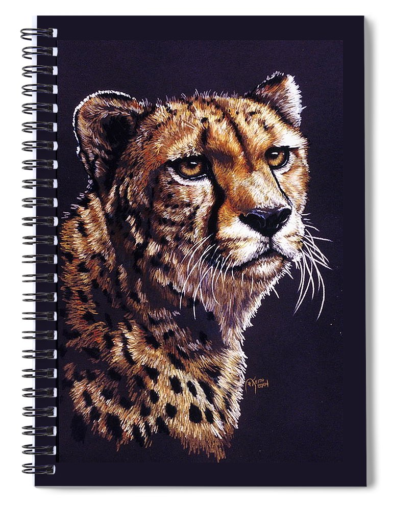 Cheetah Spiral Notebook featuring the drawing Movin On by Barbara Keith