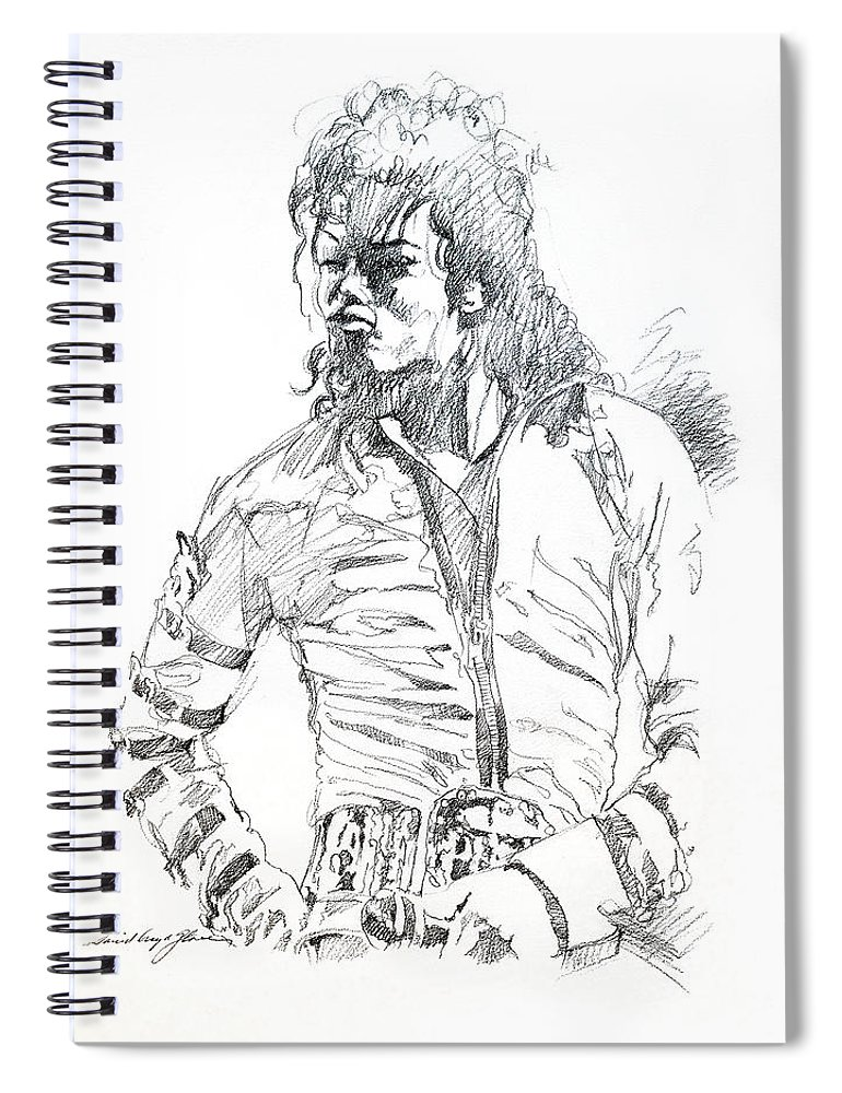 Michael Jackson Spiral Notebook featuring the drawing Mr. Jackson by David Lloyd Glover