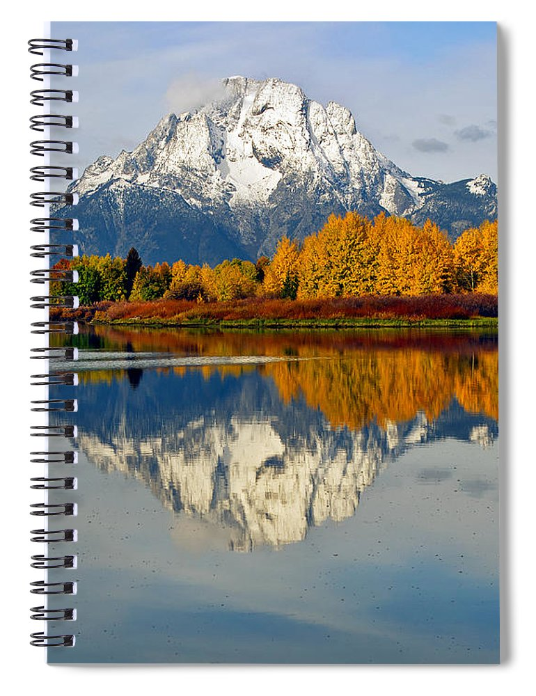 Mt Moran From Ox Bow Bend On A Fall Morning Grand Teton National Park Wyoming Spiral Notebook featuring the photograph Mt Moran From Ox Bow Bend On A Fall Morning by Gary Langley
