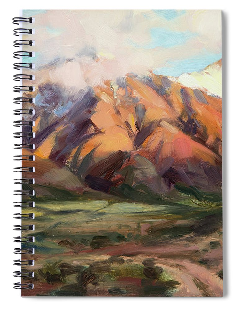 Mountains Clouds Spiral Notebook featuring the painting Mt Nebo Range by Steve Henderson