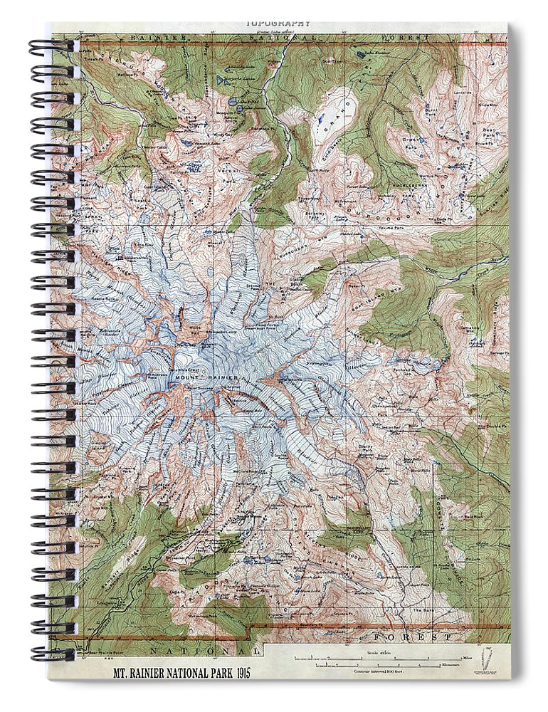 Mt Rainier Topographic Map.Mt Rainier Topographic Map 1915 Spiral Notebook For Sale By Daniel