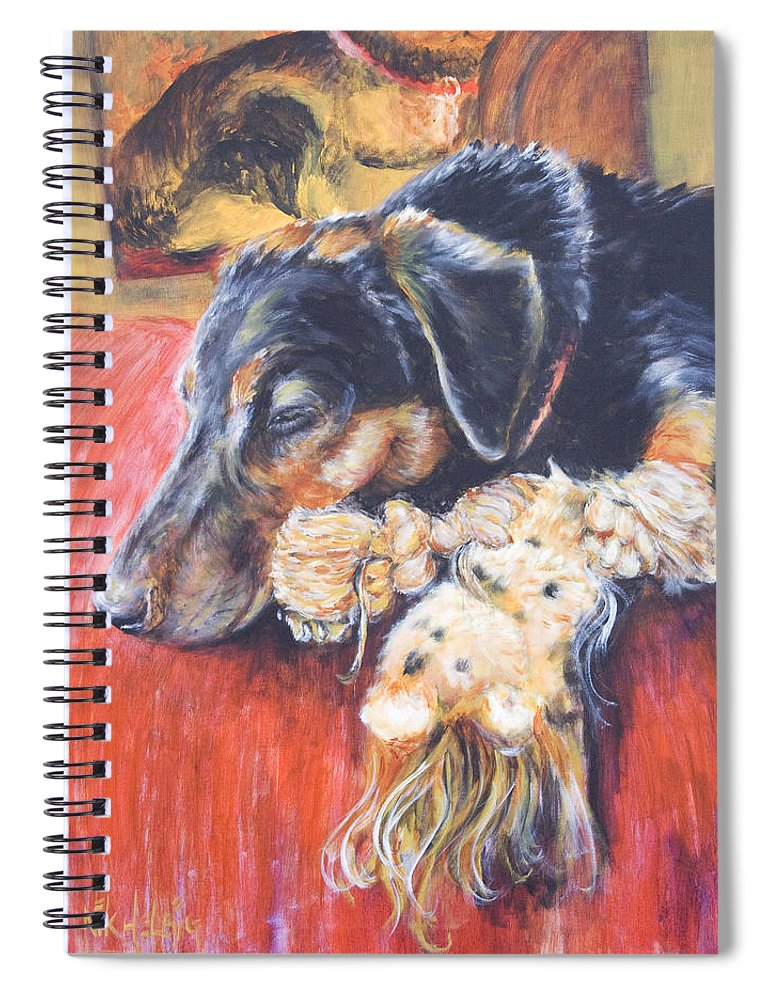 Dog Spiral Notebook featuring the painting Murphy VIII by Nik Helbig