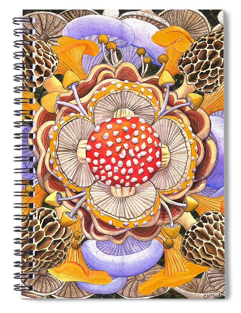 Mushrooms Spiral Notebook featuring the painting Mushroom Mandala by Catherine G McElroy