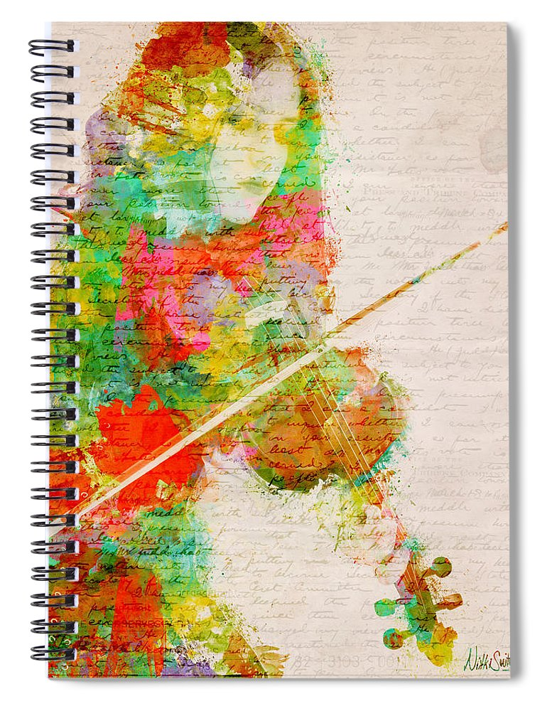 Violin Spiral Notebook featuring the digital art Music In My Soul by Nikki Smith