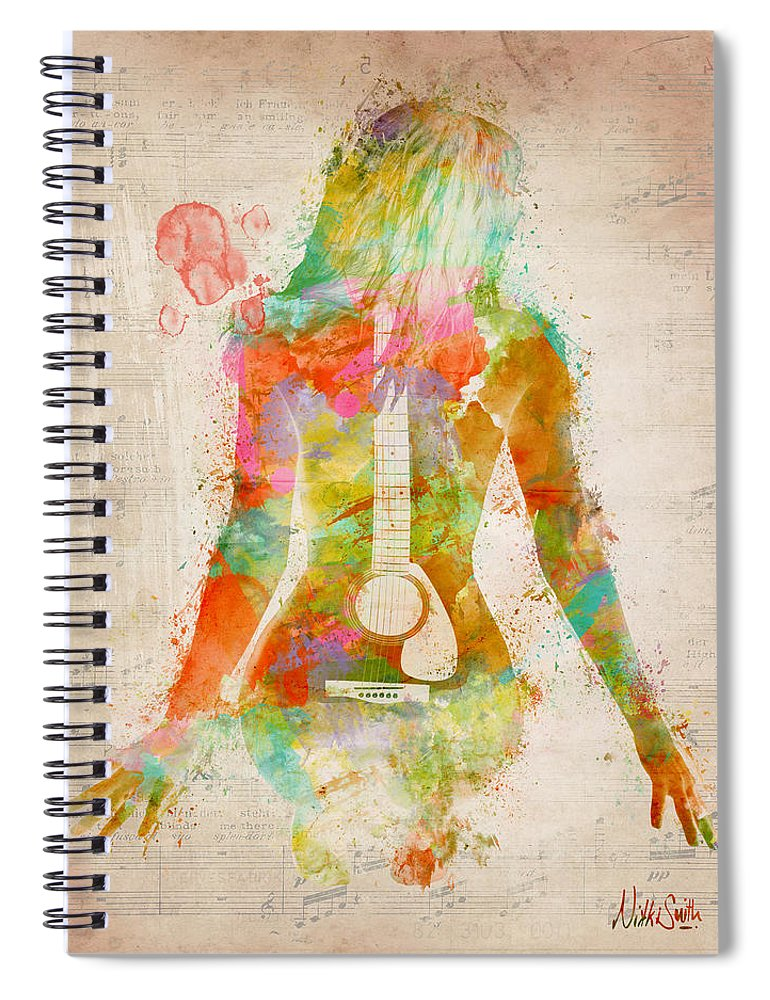 Guitar Spiral Notebook featuring the digital art Music Was My First Love by Nikki Marie Smith