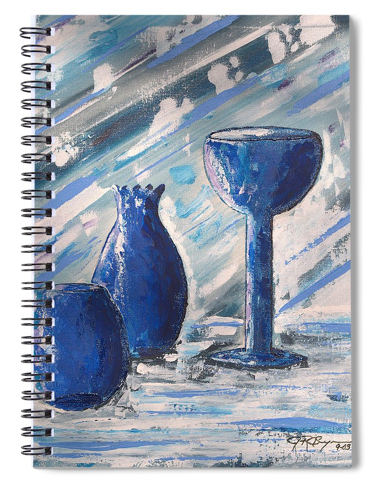 Vases Spiral Notebook featuring the painting My Blue Vases by J R Seymour