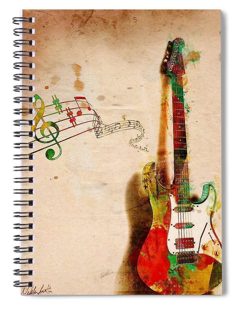 Guitar Spiral Notebook featuring the digital art My Guitar Can SING by Nikki Smith