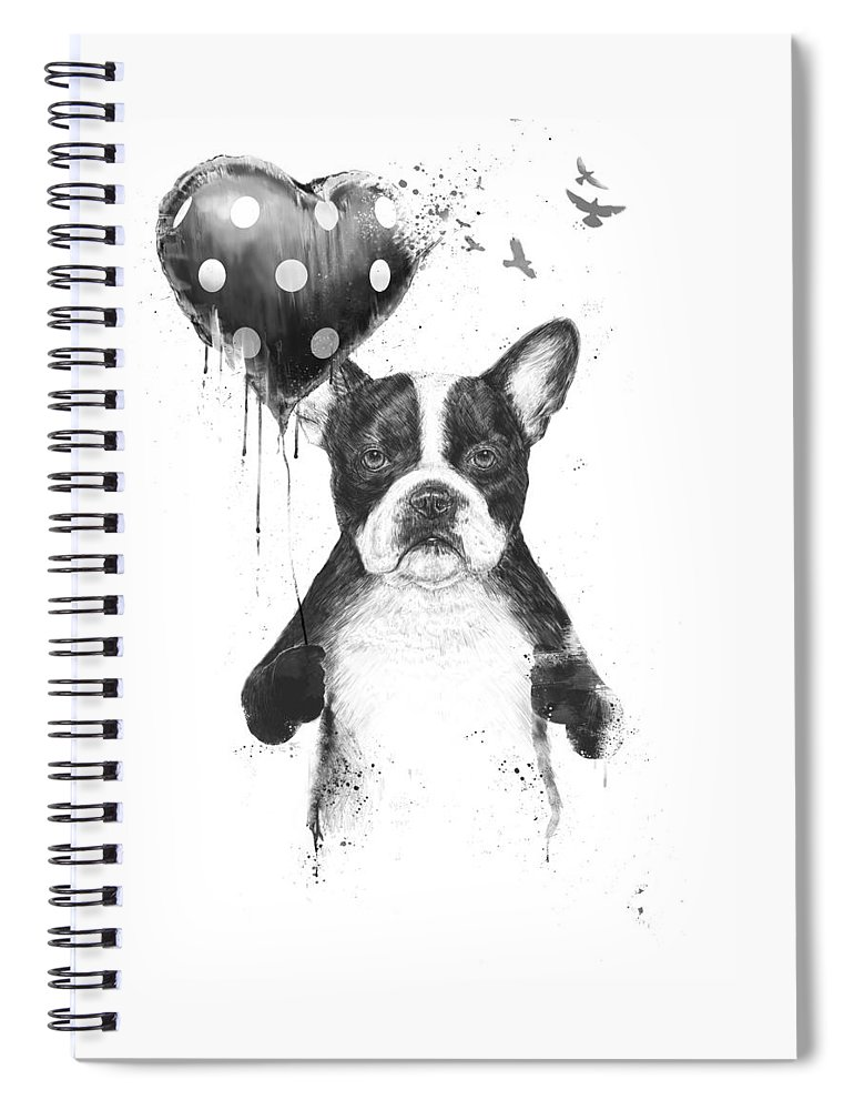 Bulldog Spiral Notebook featuring the mixed media My heart goes boom by Balazs Solti