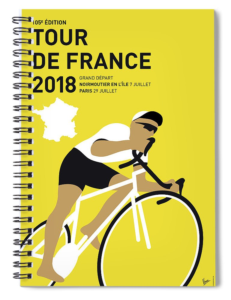 2018 Spiral Notebook featuring the digital art My Tour De France Minimal Poster 2018 by Chungkong Art