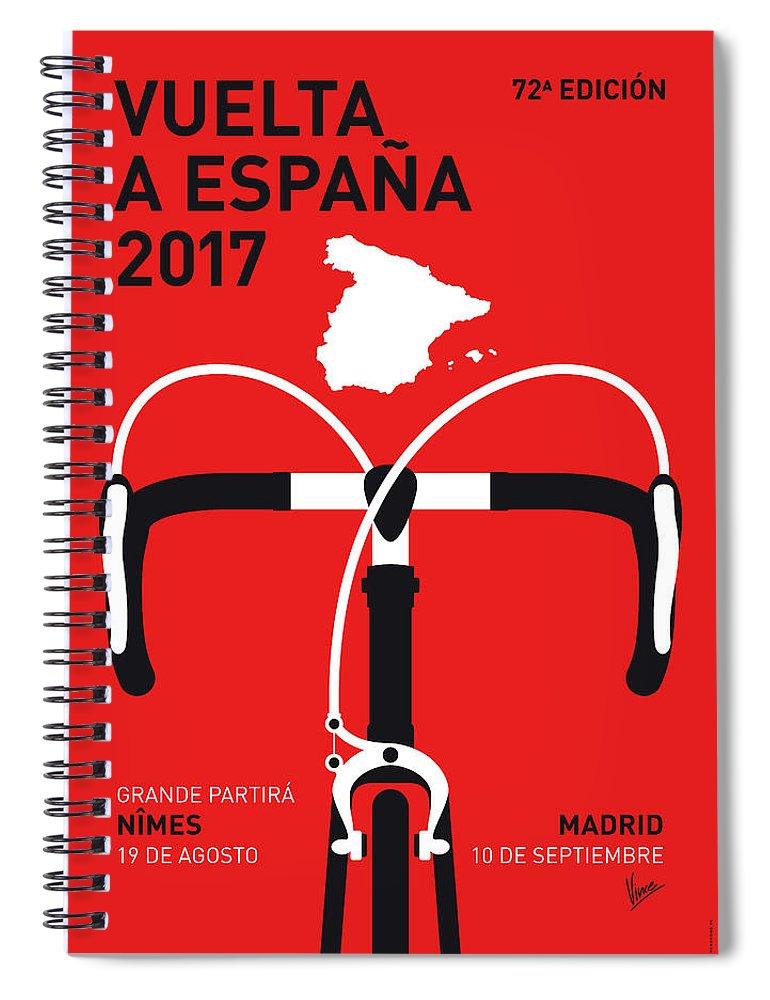 2017 Spiral Notebook featuring the digital art My Vuelta A Espana Minimal Poster 2017 by Chungkong Art