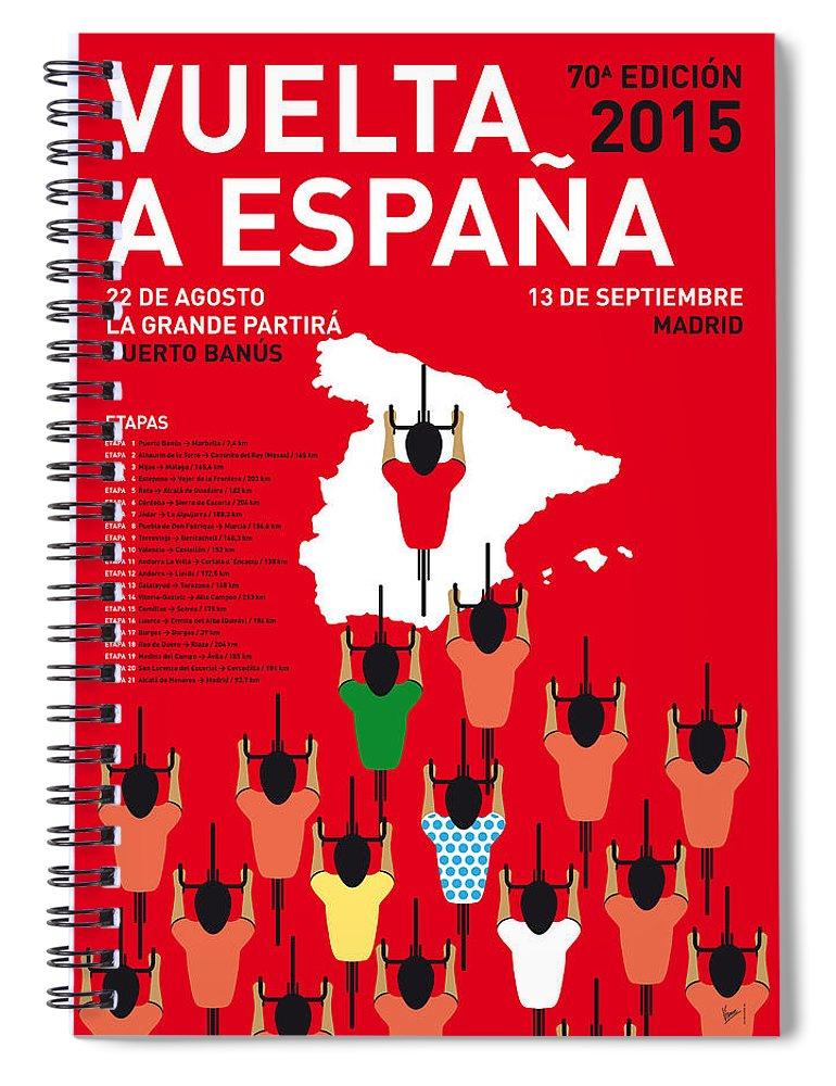 2015 Spiral Notebook featuring the digital art My Vuelta A Espana Minimal Poster Etapas 2015 by Chungkong Art