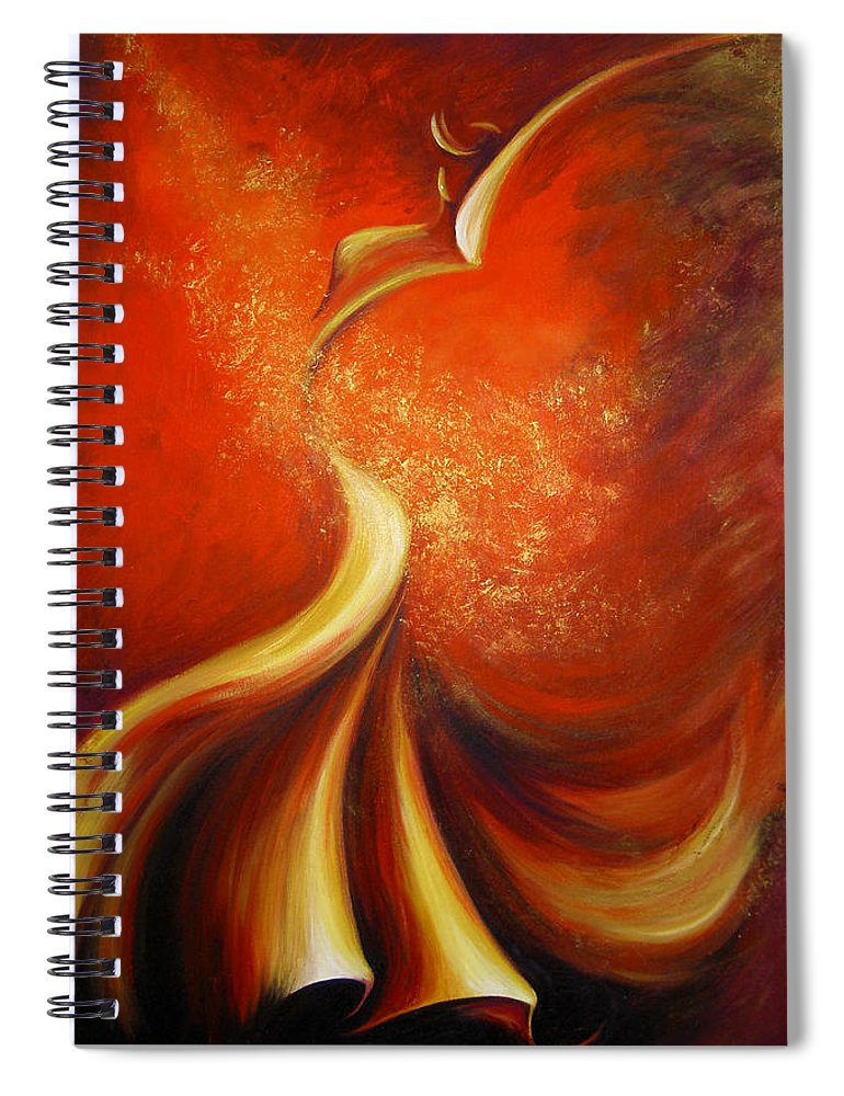 Figure Study Spiral Notebook featuring the painting Mystery Dance by Dina Dargo