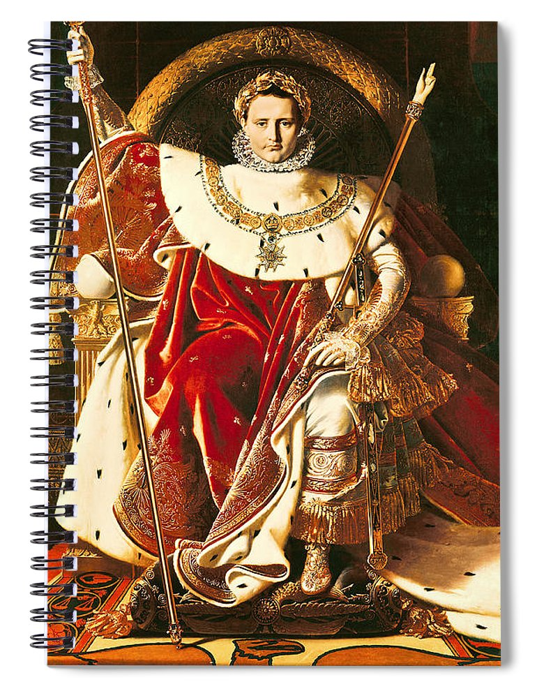 Napoleon Spiral Notebook featuring the painting Napoleon I On The Imperial Throne by Ingres