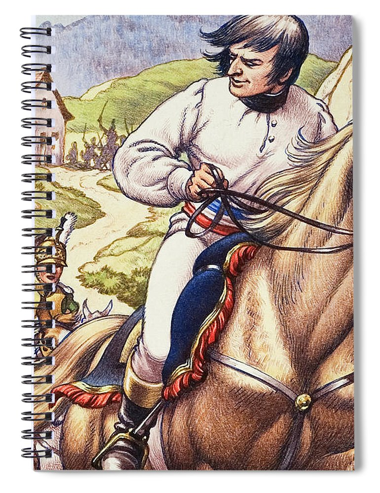 Napoleon Spiral Notebook featuring the painting Napoleon Making A Narrow Escape With An Austrian Cavalry Patrol Close On His Heels by Pat Nicolle