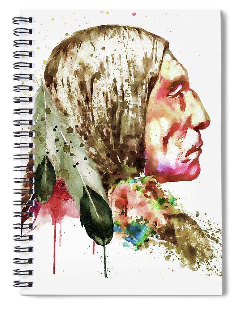 Native American Spiral Notebook featuring the painting Native American Side Face by Marian Voicu
