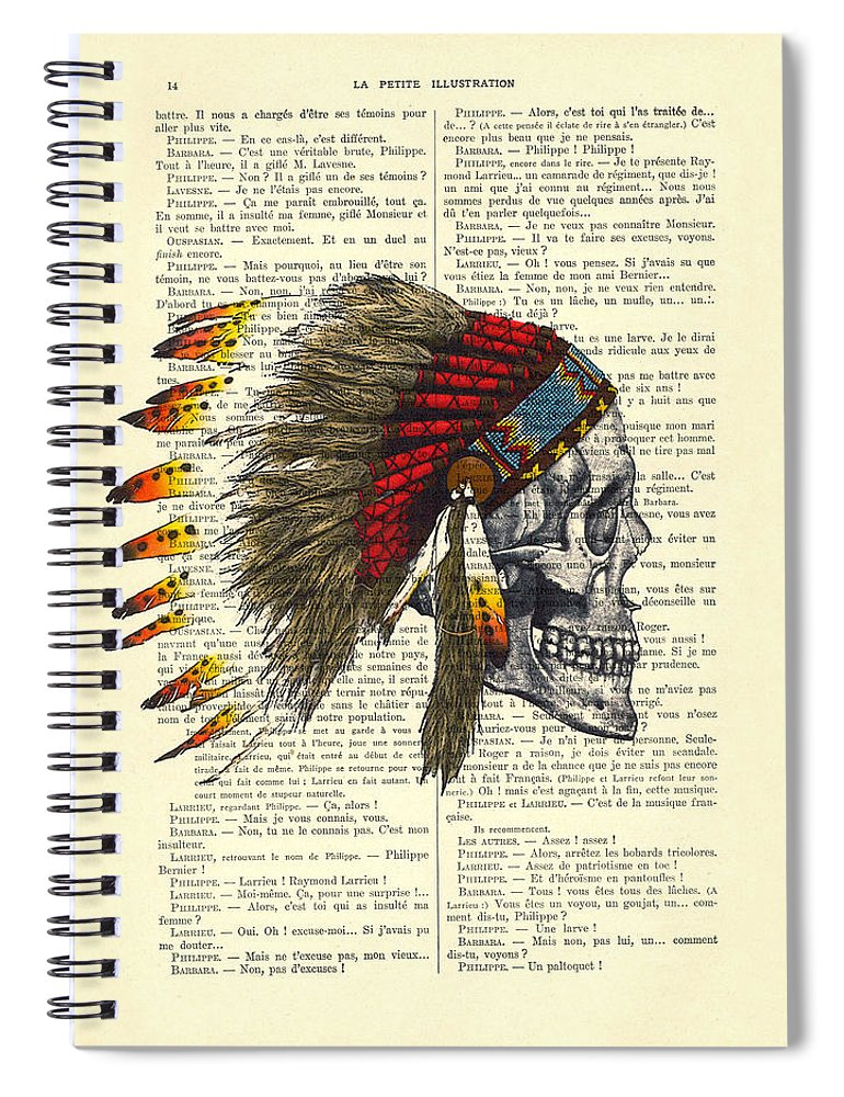 Native American Spiral Notebook featuring the digital art Native American Skull by Madame Memento