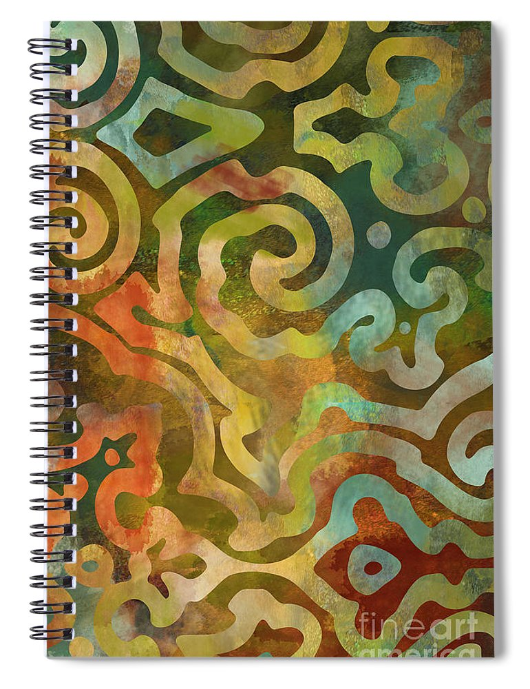 Ethnic Art Spiral Notebook featuring the painting Native Elements Multicolor by Mindy Sommers