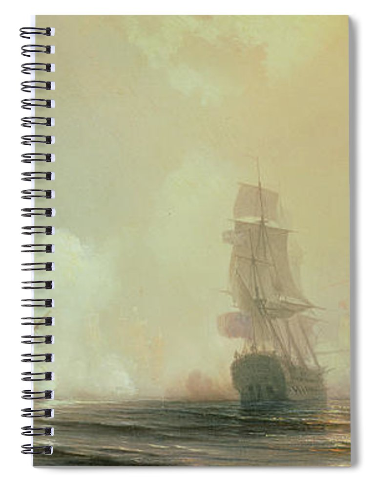 Boat Spiral Notebook featuring the painting Naval Battle In Chesapeake Bay by Jean Antoine Theodore Gudin